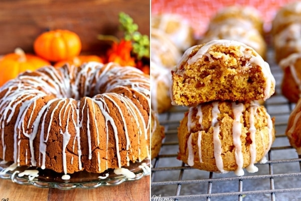 gluten-free pumpkin cake and cookies photo collage