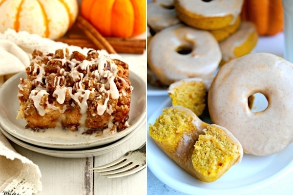 gluten-free pumpkin casserole and donuts photo collage