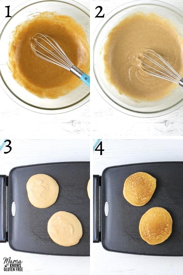 gluten-free pumpkin pancakes recipe steps photo collage