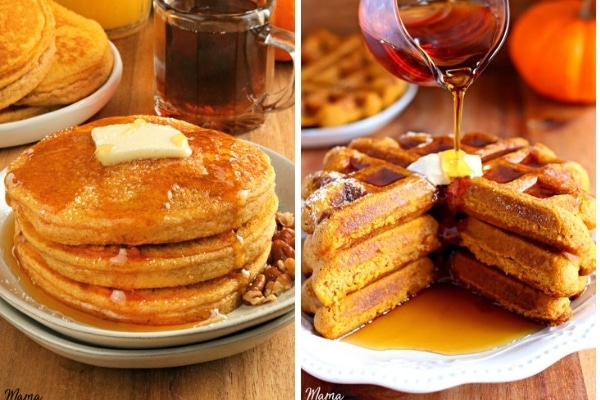 gluten-free pumpkin pancakes and waffles photo collage