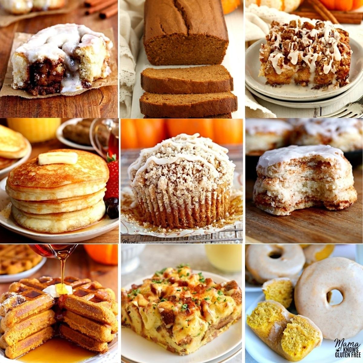 gluten free Thanksgiving breakfast recipes photo collage