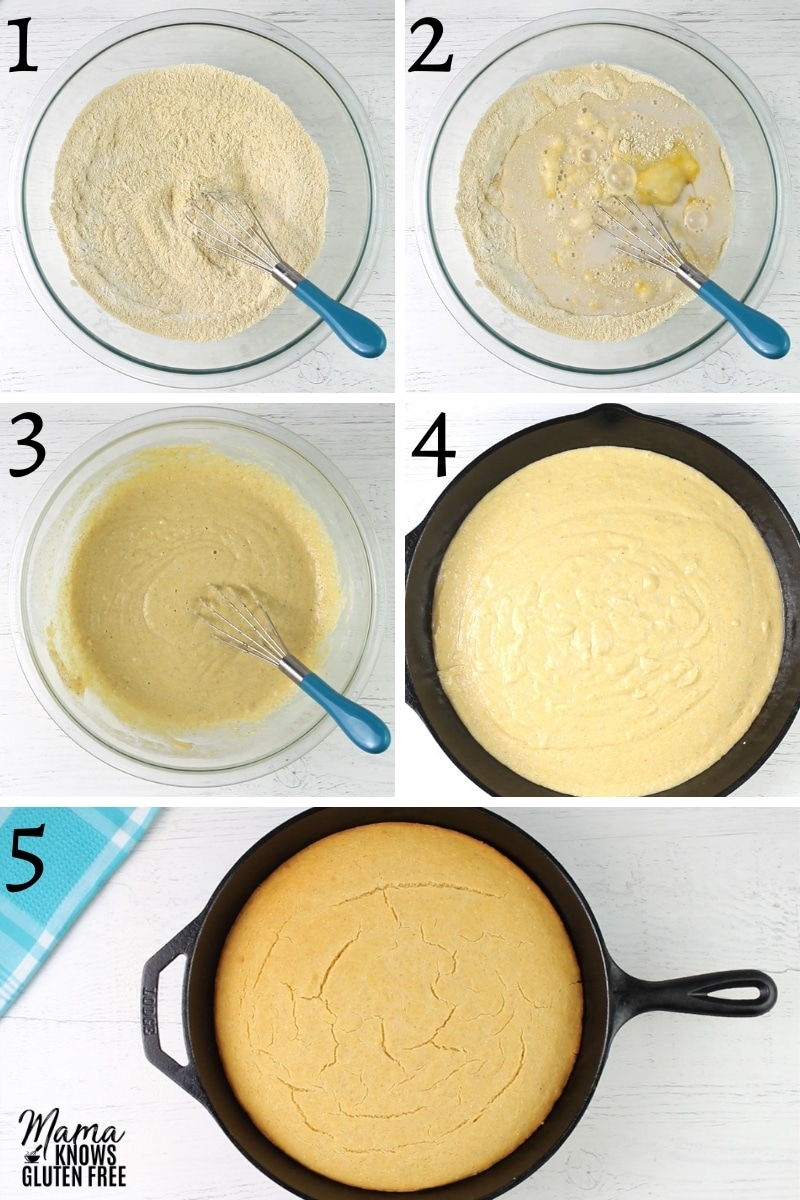 gluten-free cornbread recipe steps photo collage