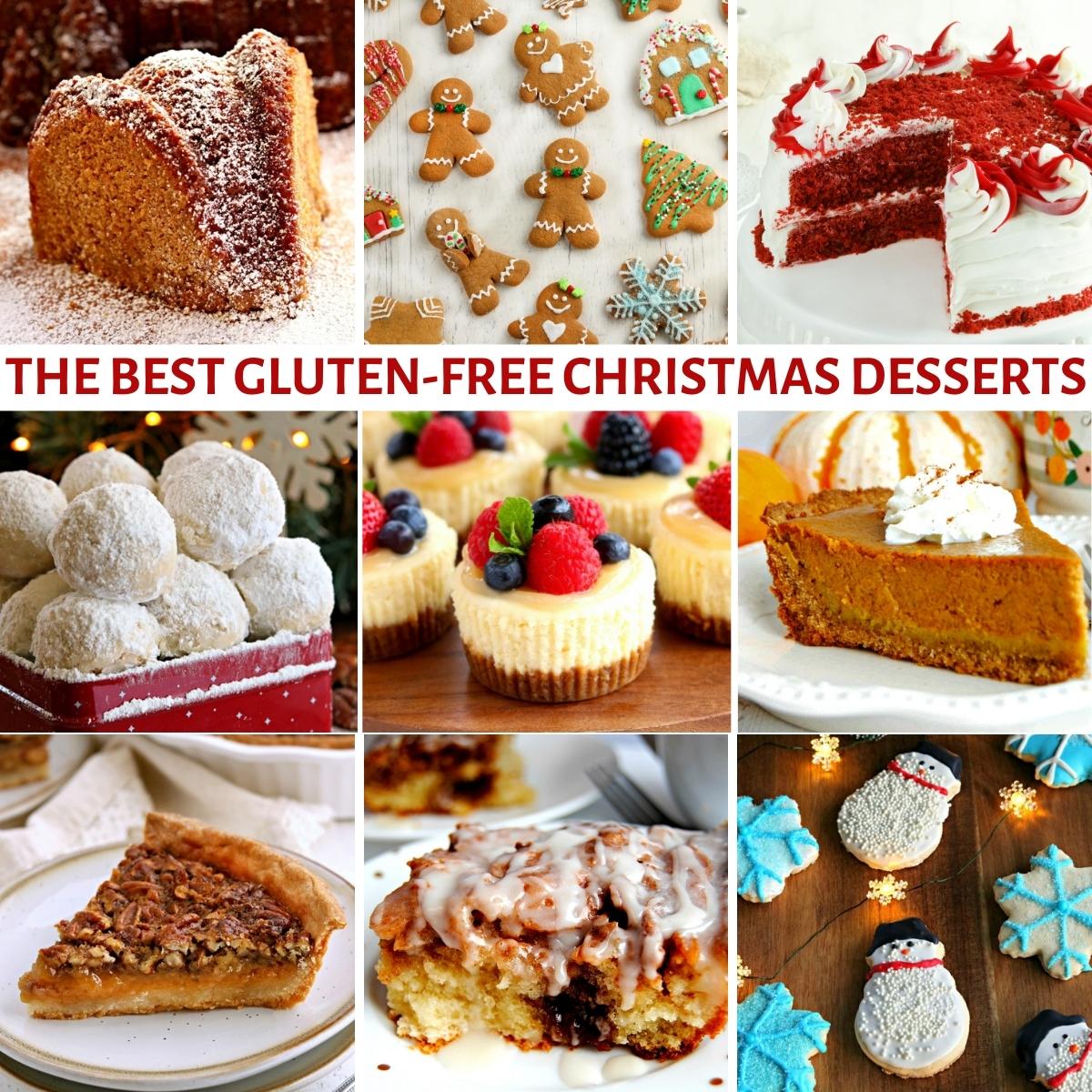 gluten-free Christmas desserts photo collage