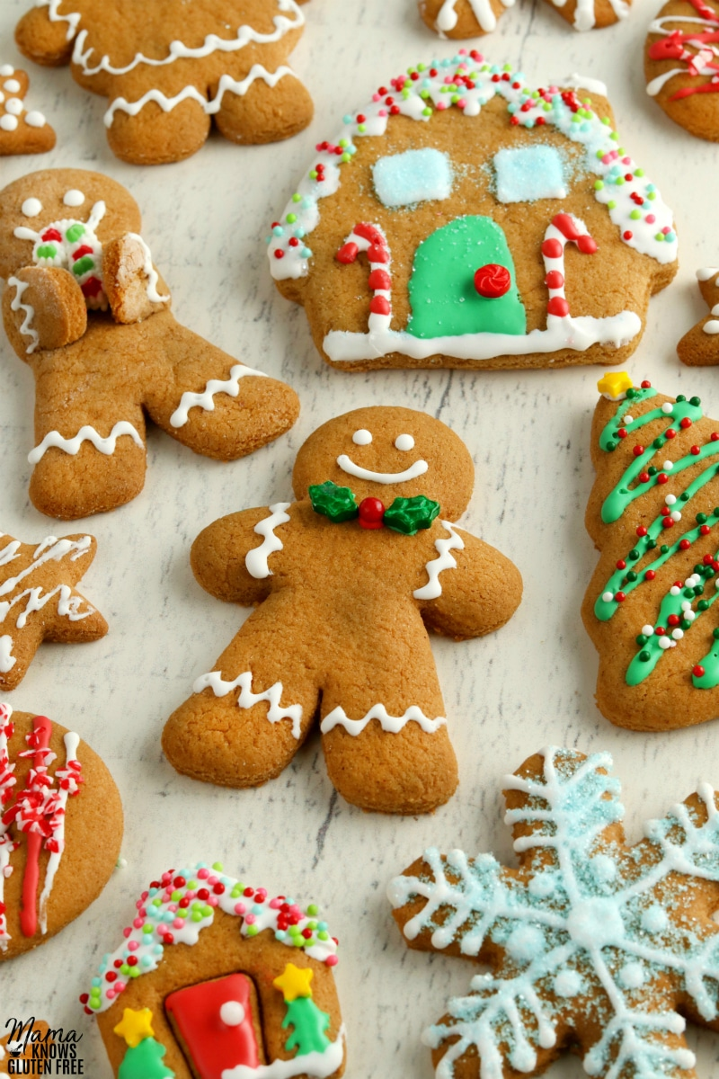 gluten-free gingerbread cookies cut into different shapes and decorated