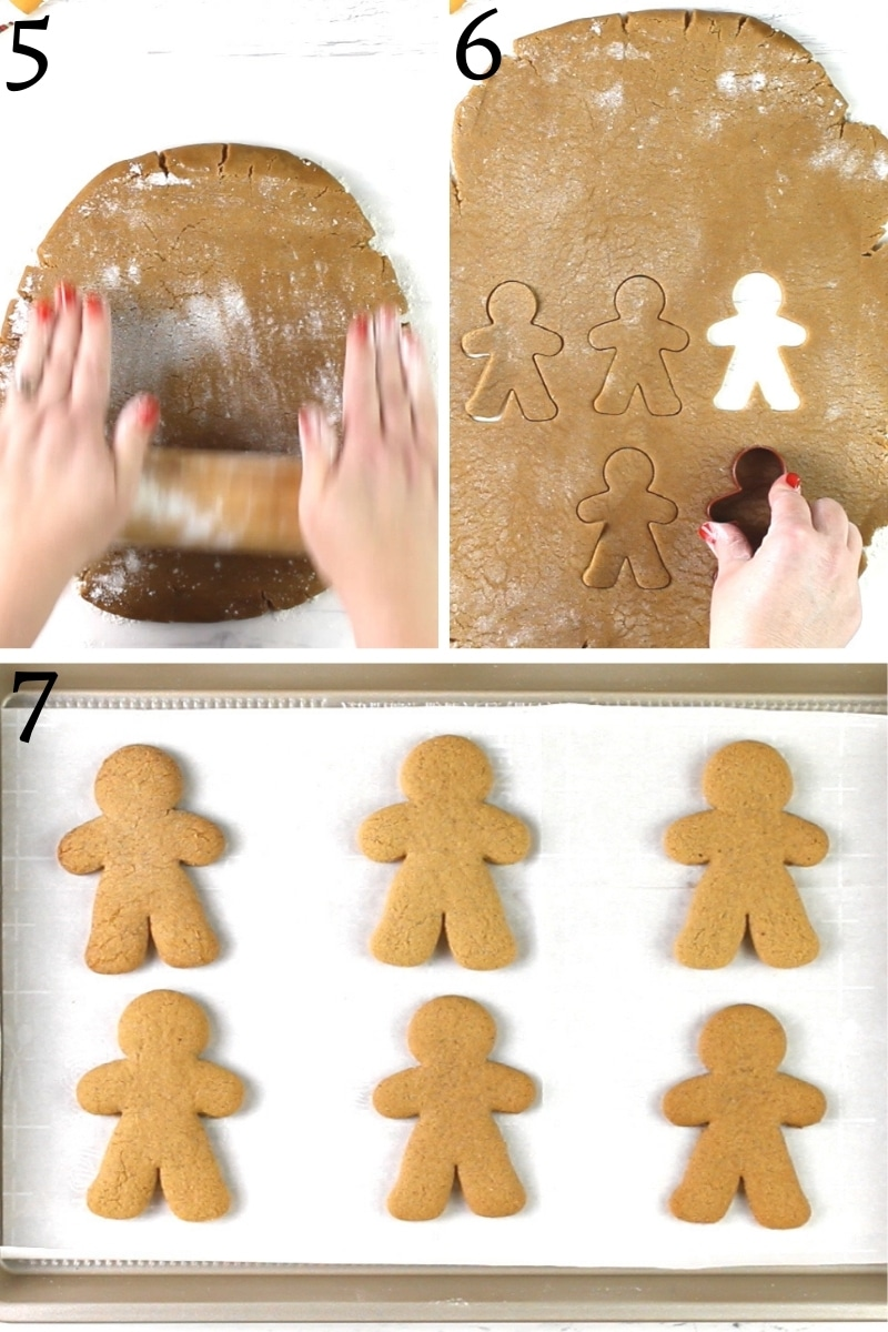 gluten-free gingerbread cookies recipe steps 5-7 photo collage