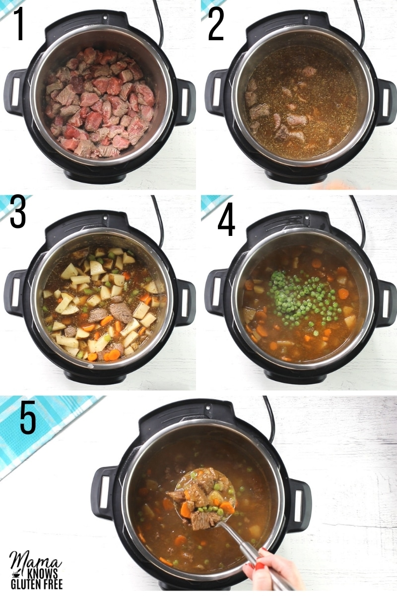 gluten-free beef stew recipe steps photo collage