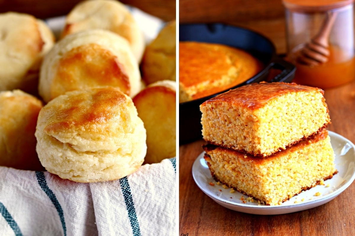 gluten-free biscuit and cornbread photo collage