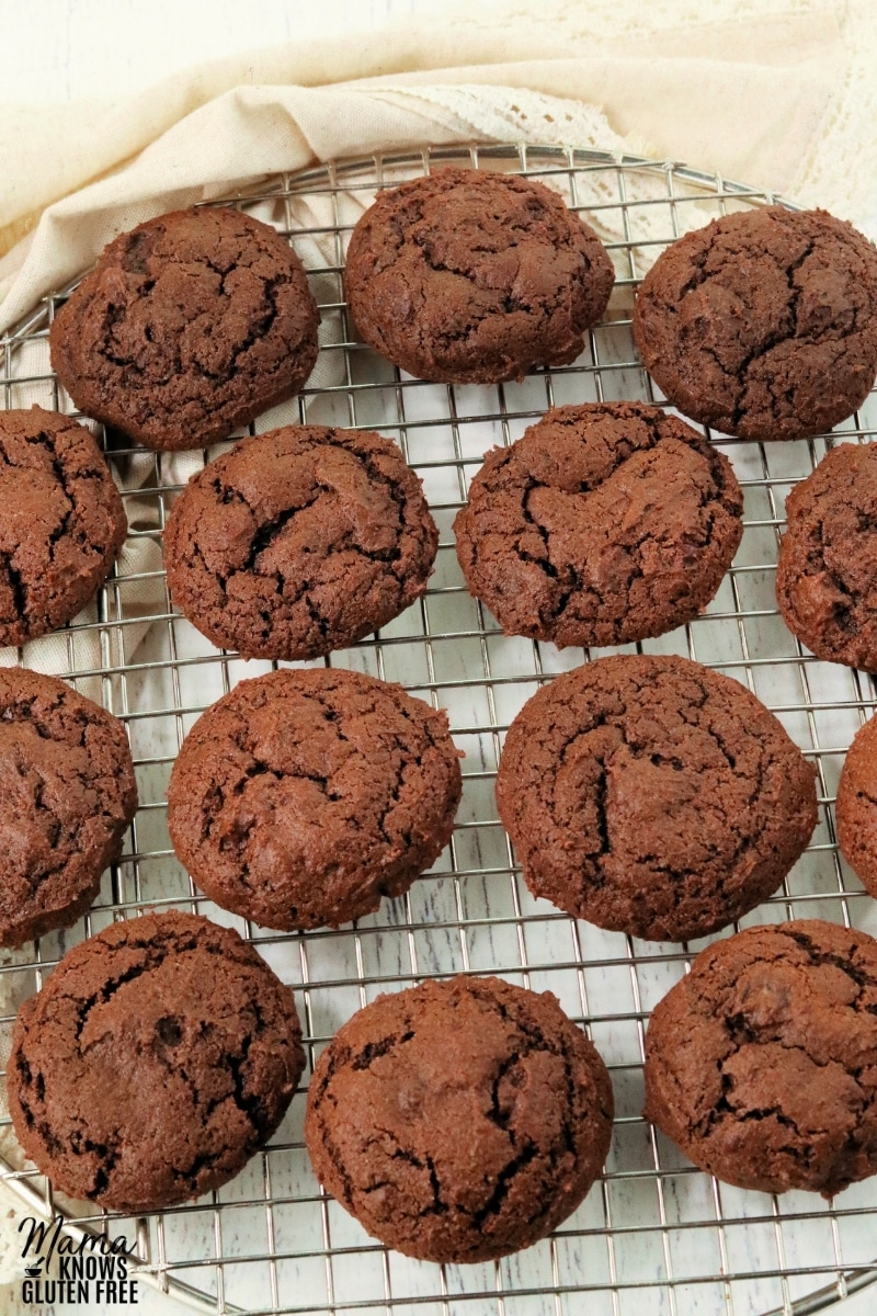 gluten-free chocolate cookies on a cooling rack