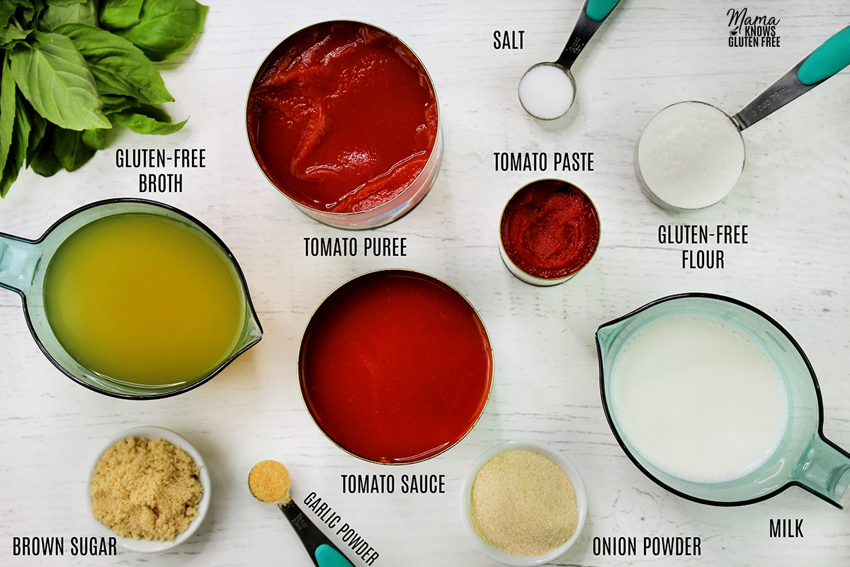 all the ingredients to make gluten-free tomato soup
