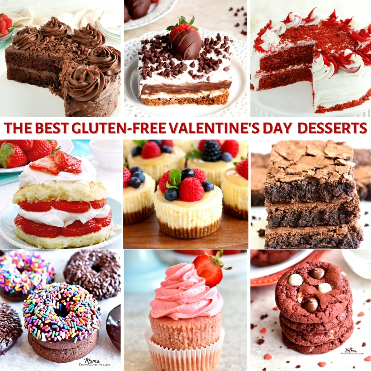 photo collage of gluten free dessert recipes for Valentine's Day