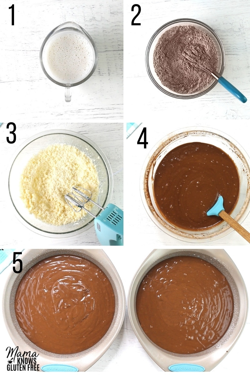 gluten-free chocolate cake recipe steps 1-5