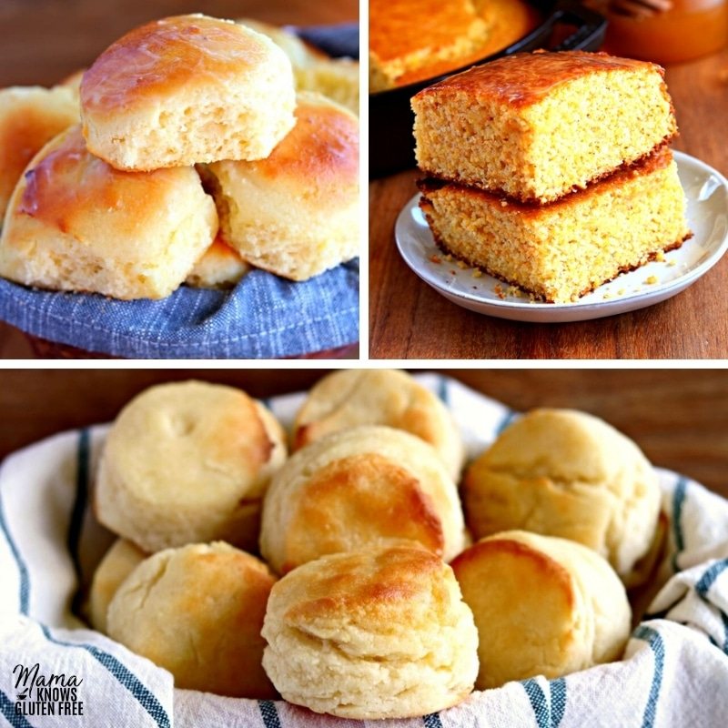 photo collage of gluten-free rolls, cornbread, and biscuits.