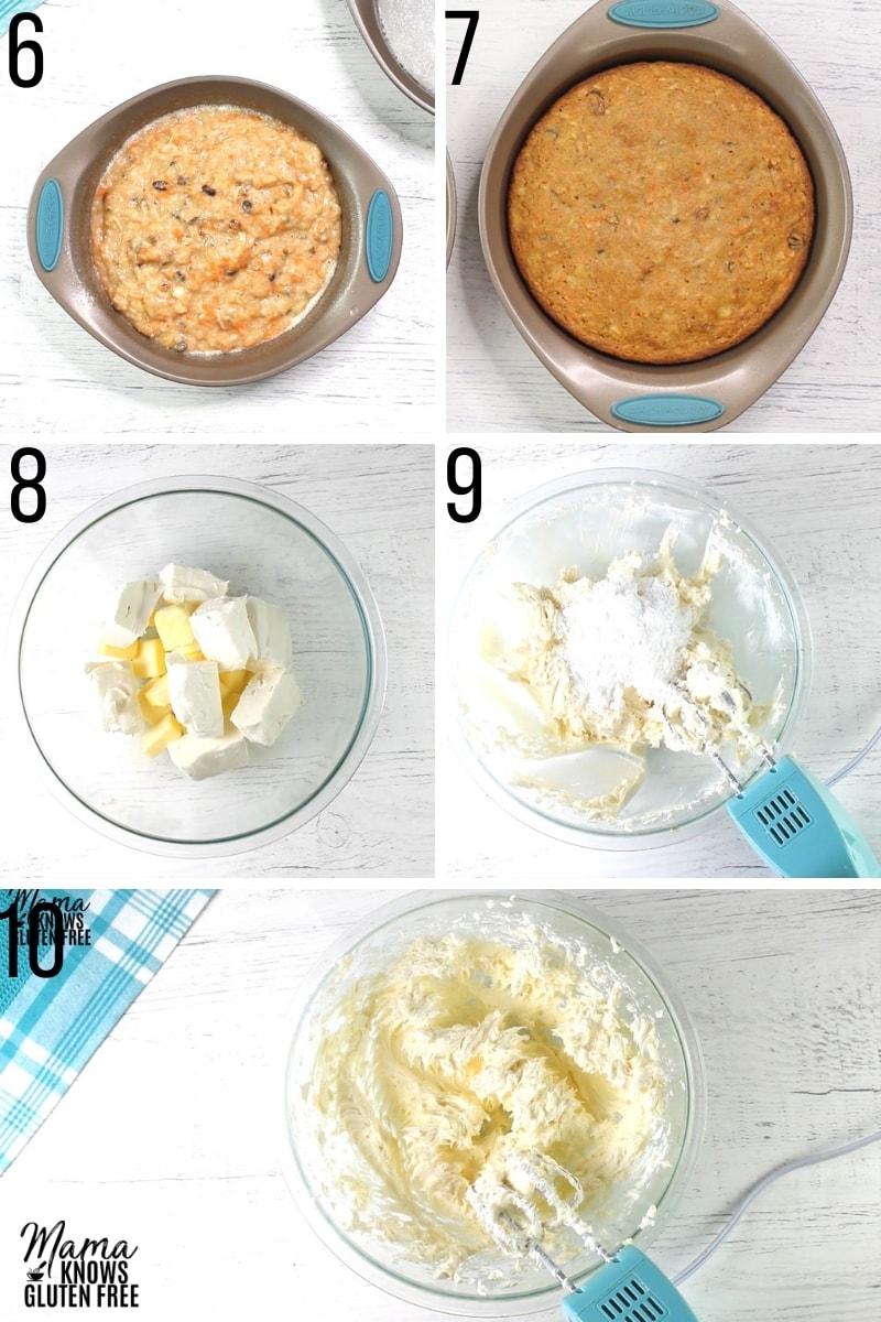 gluten-free carrot cake recipe steps photo collage 6-10