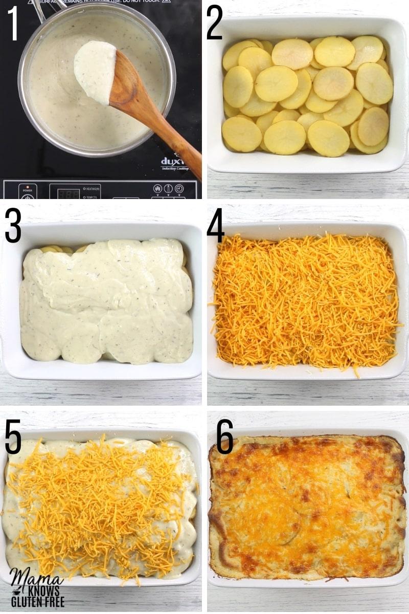 gluten-free scalloped potatoes recipe steps photo collage
