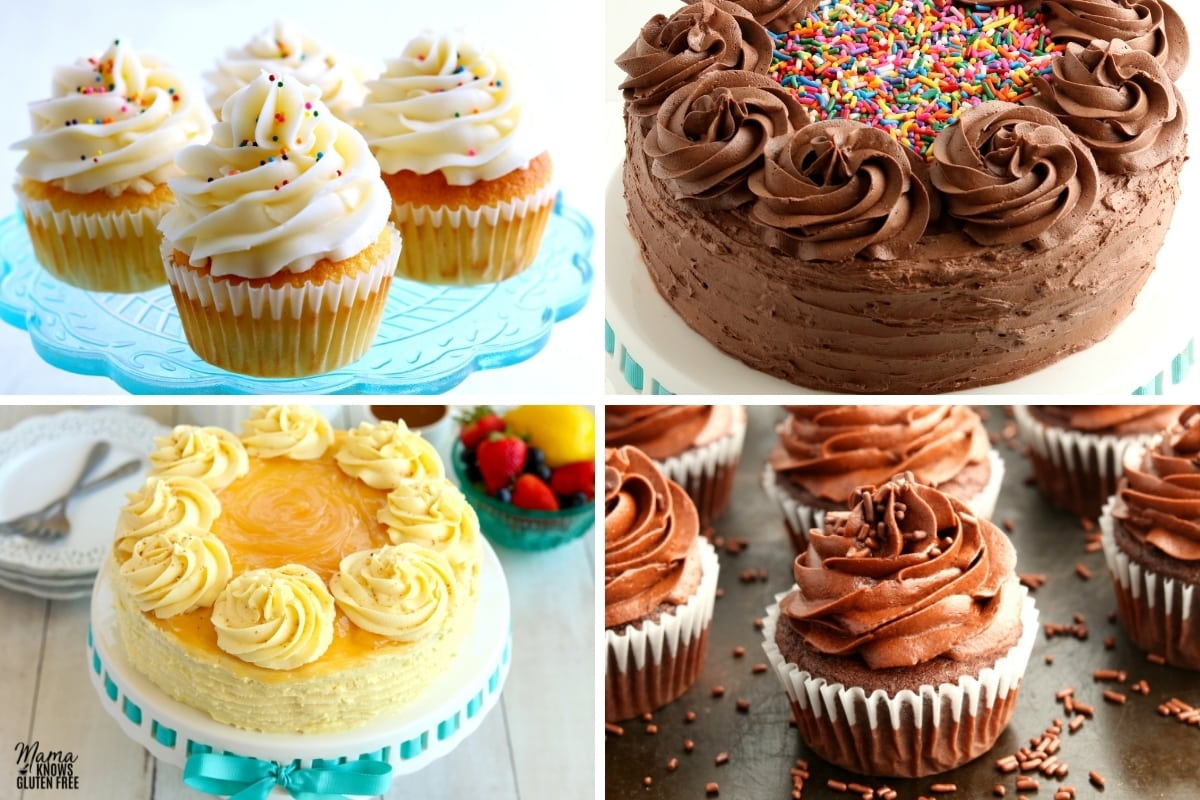 gluten-free frosted cakes photo collage