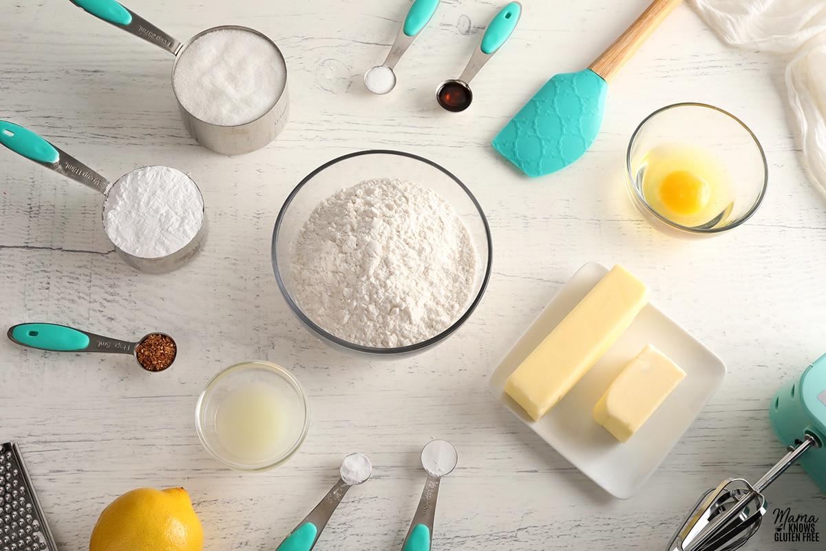 gluten-free lemon cookies ingredients photo collage