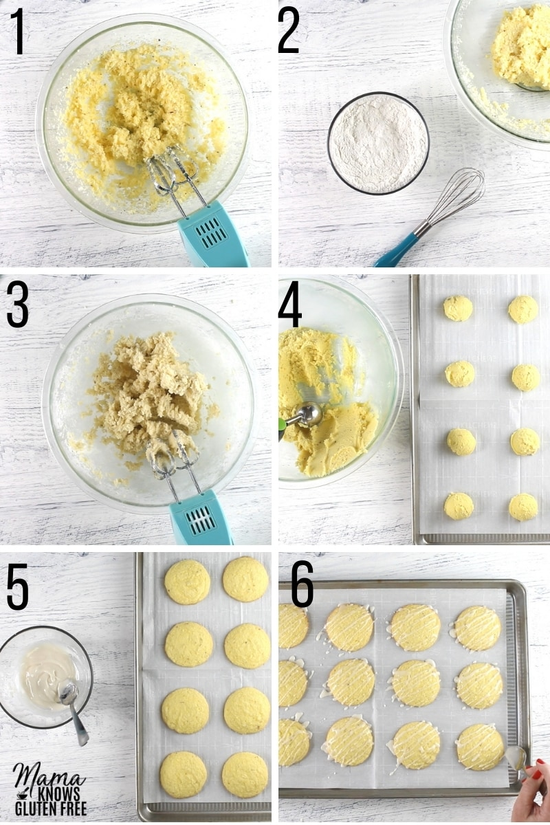 gluten-free lemon cookies recipe steps photo collage