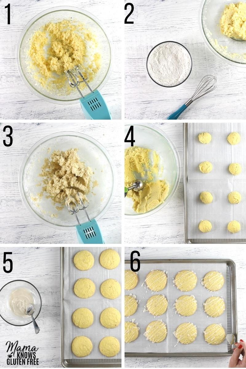 gluten-free lemon cookies recipe steps photo collage