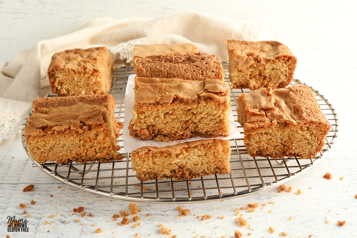 gluten-free blondies on a cooling rack