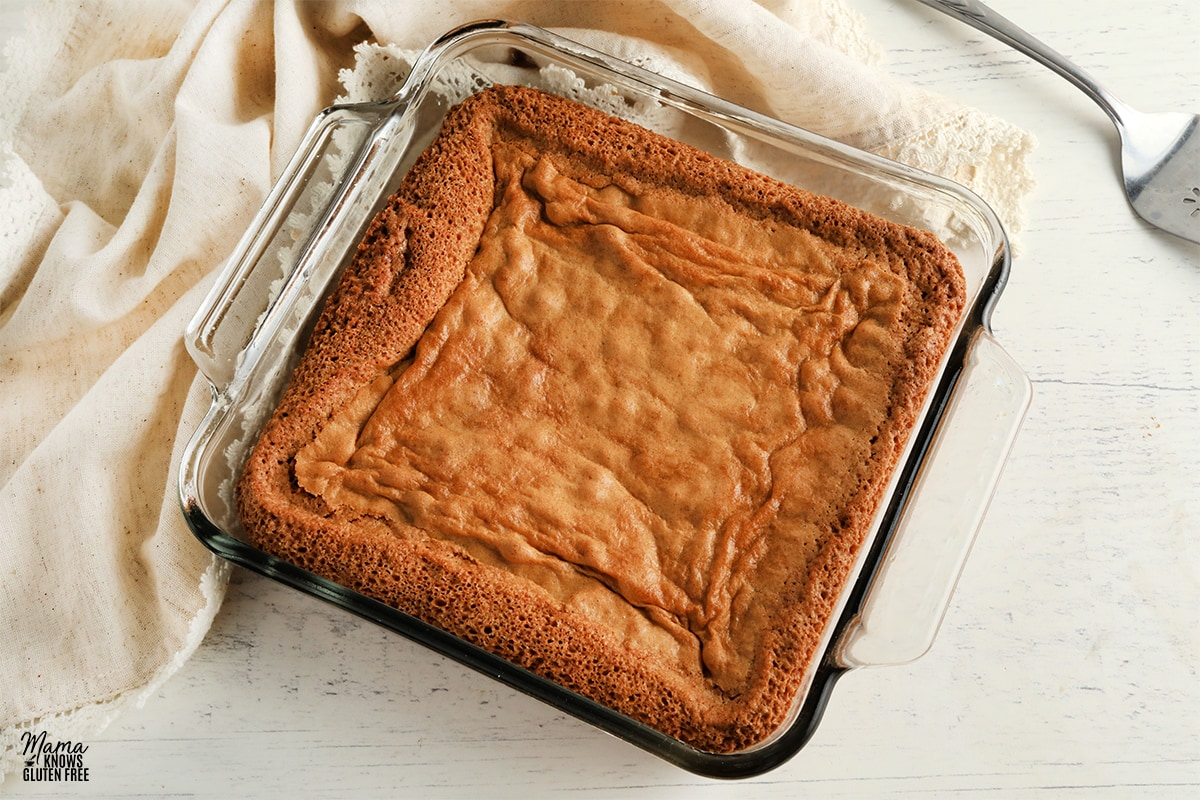 glass pan of gluten-free blondies