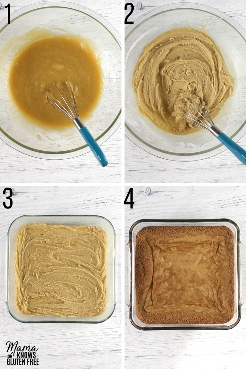gluten-free blondies recipe steps photo collage