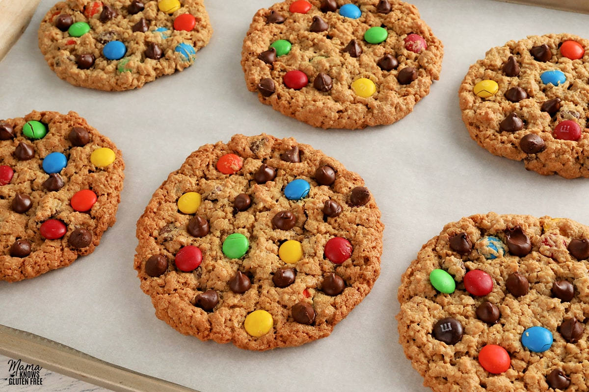 gluten-free monster cookies on a cookie sheet
