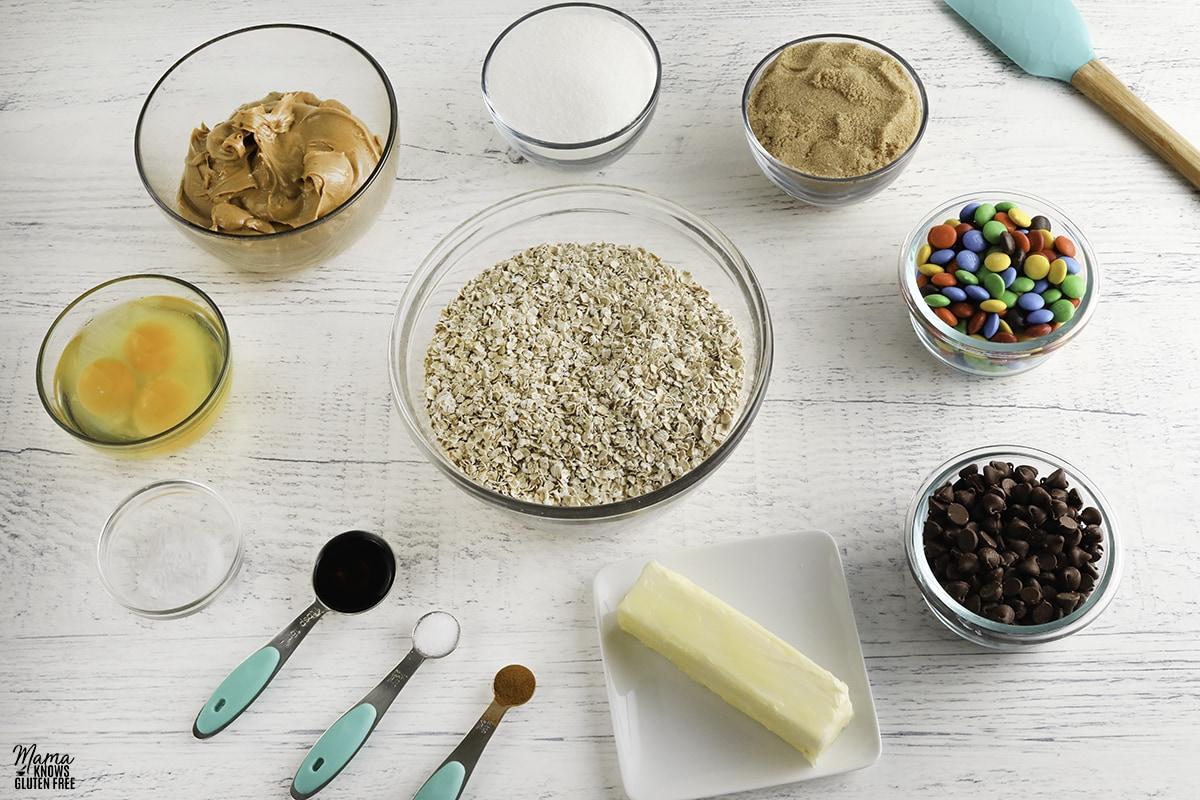 gluten-free monster cookies recipe ingredients photo collage