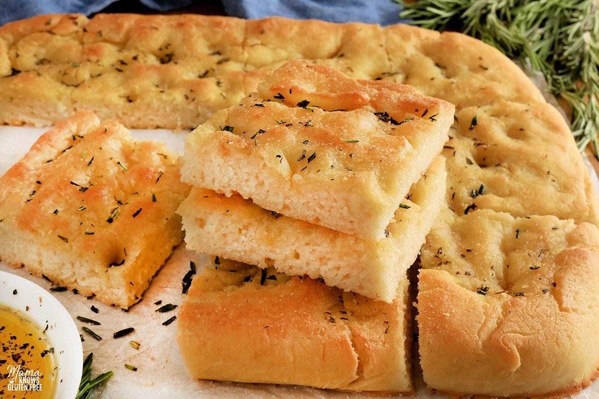 gluten-free focaccia sliced into pieces