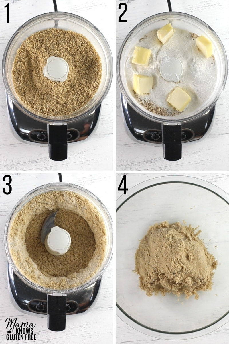 gluten-free key lime pie recipe steps photo collage for the pie crust steps 1-4