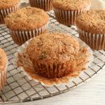 gluten-free zucchini muffins on a cooling rack