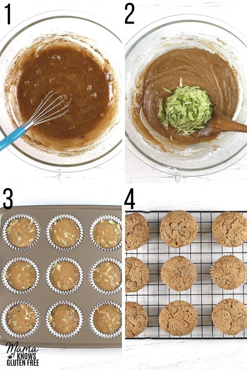 gluten-free zucchini muffins ingredients photo collage