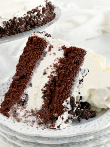 gluten-free ice cream cake slice on a white plate with the cake in the background