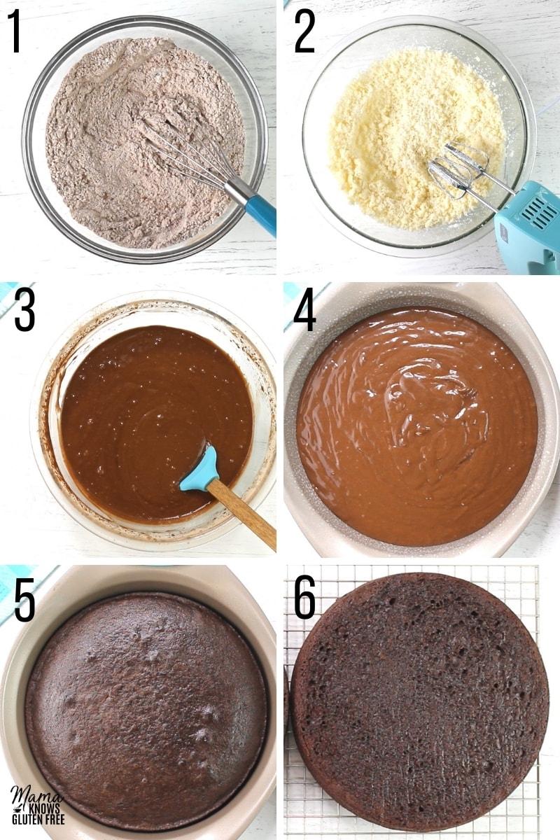gluten-free ice cream cake recipe steps 1-6 photo collage