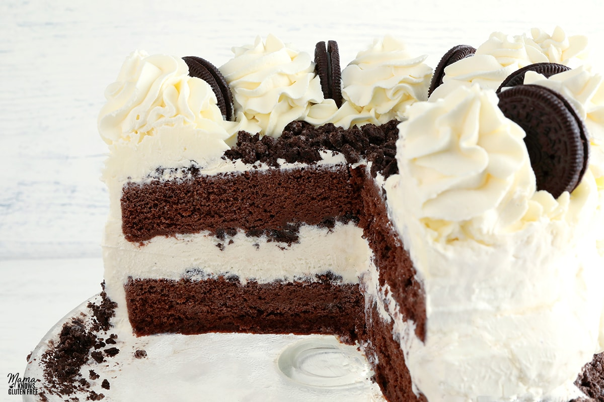 gluten-free ice cream cake sliced to see the inside of the cake