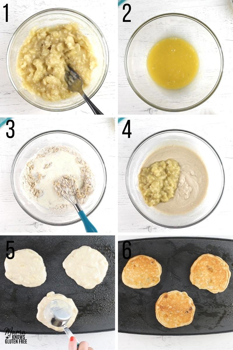 gluten-free banana pancakes recipe steps photo collage