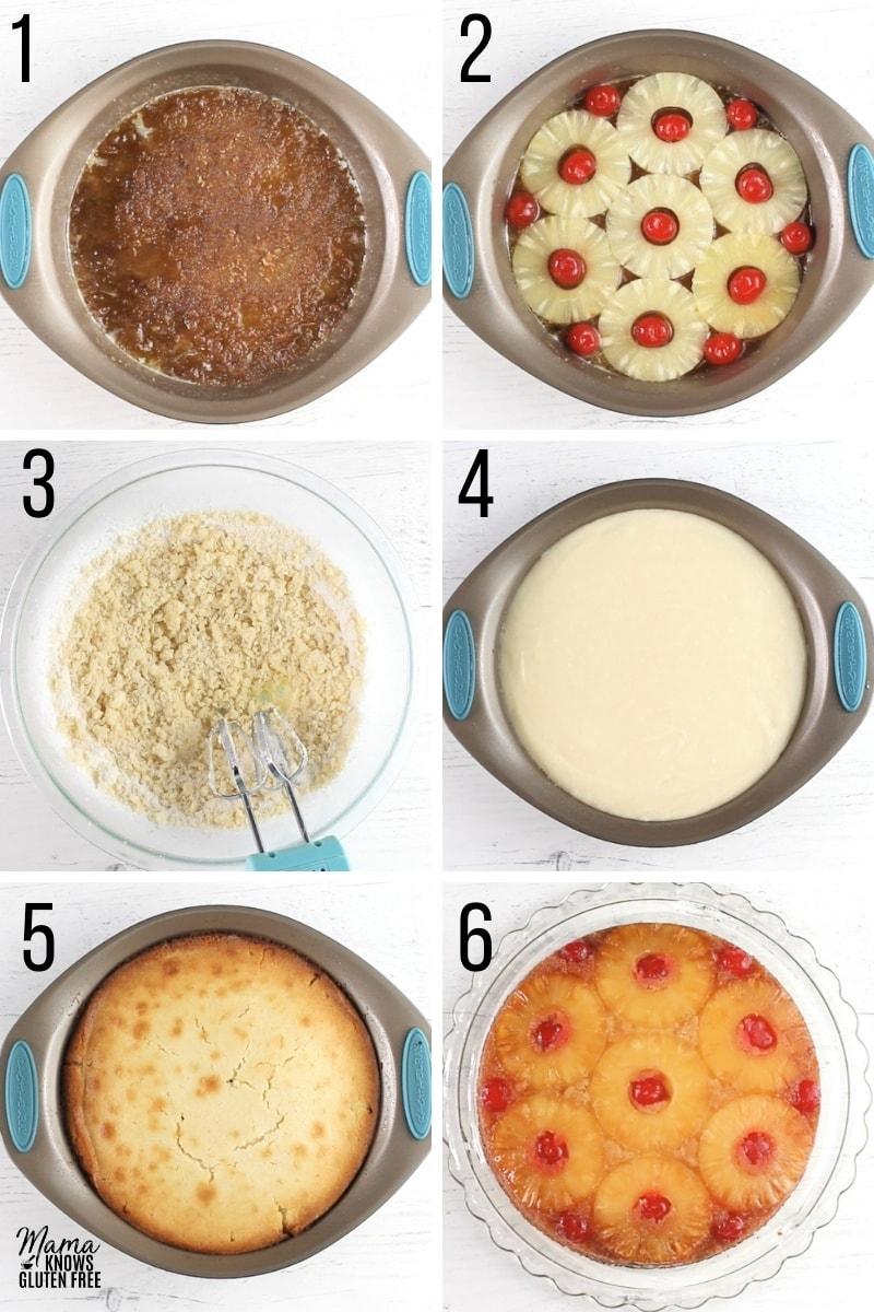 gluten-free pineapple upside down cake recipe step photo collage