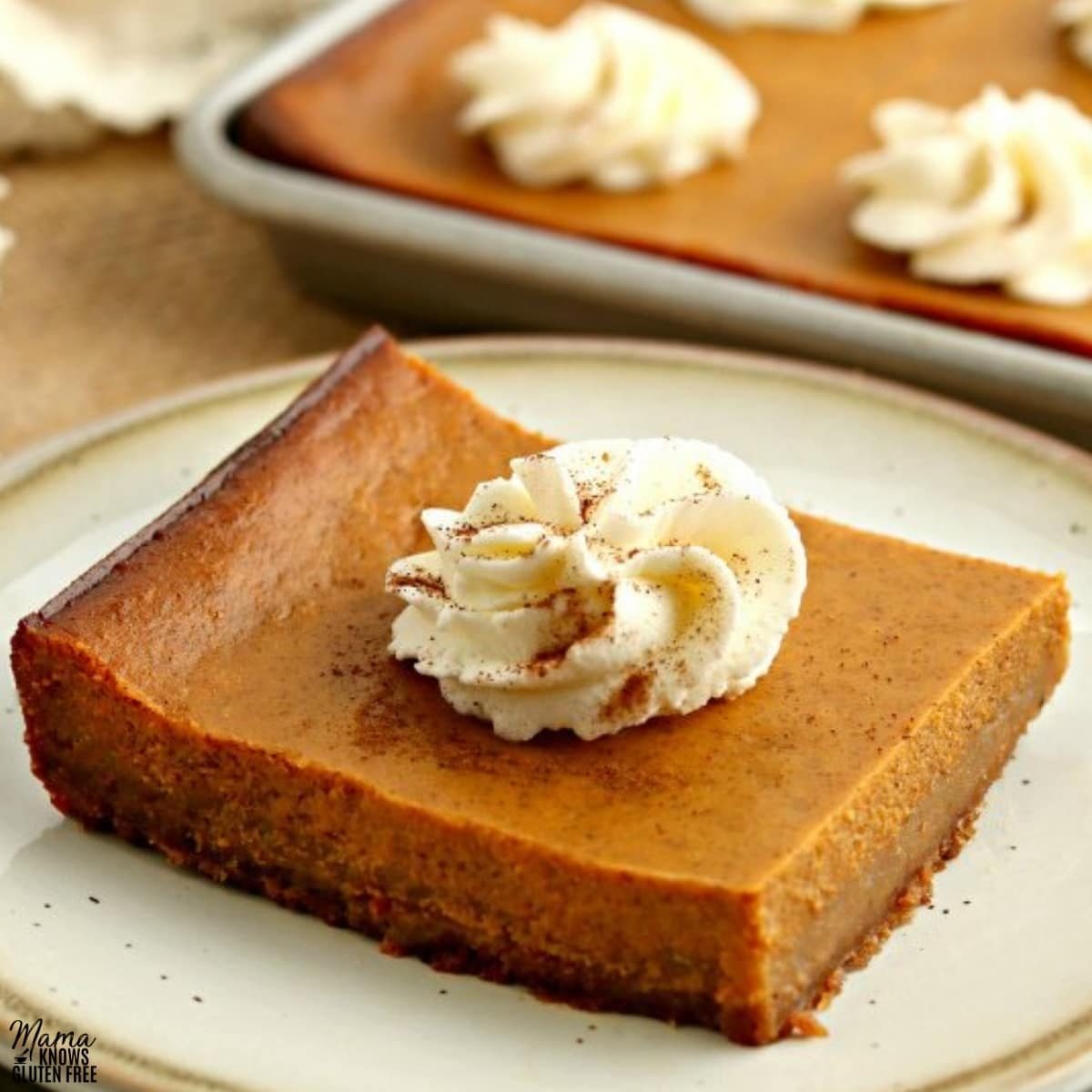 gluten-free pumpkin pie bar slice on a white plate with the bars in the background